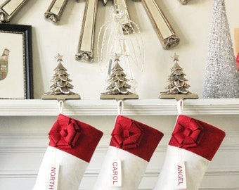 Set of 6 White Modern Wool Felt Christmas Stockings. Unique Handmade Christmas  Gifts, Simple, Elegant, and Beautiful!