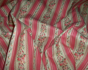 KRAVET LAURA ASHLEY English Country Floral Stripes Fabric 28 Yard Bolt Rose Multi