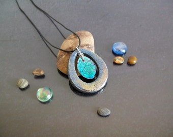 Ceramic pendant, double drop pendant, ceramic necklace, drop jewelry, raku pottery pendant, drop necklace, handmade personalized pendant