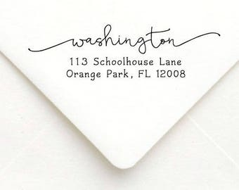 Personalized Self Inking Return Address Stamp - self inking address stamp - Custom Rubber Stamp, calligraphy stamp A66