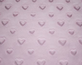 Minky fabric, pastel Pink Hearts, 50 x 165 cm, very soft minkee