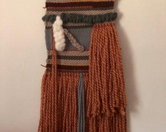 Large Orange Woven Wall Hanging | Wall Decor | Handmade Talestry | Weave