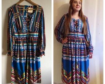 Amazing vintage 70s colourful Aztec pattern dress