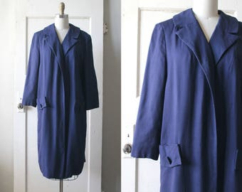 Vintage 1950s Cele Peterson Coat / 50s Navy Linen Swing Coat / Tubac Coat