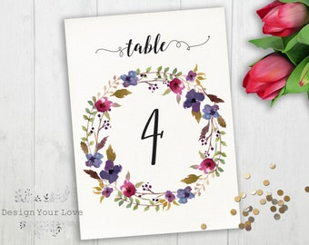 printable wedding table numbers printable floral wedding table numbers instant download wedding table numbers floral wreath boho wedding
