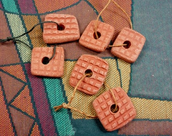 Double Sided Rounded Corner Square Handmade Ceramic Clay Beads, Textured, Reversible with Center Hole, Sturdy Bracelet or Earring Component