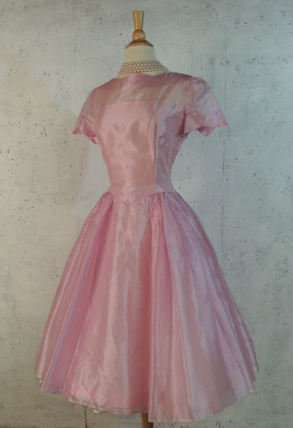 Lilac Flare Prom Fit Organza 50s Wedding Skirt Full Basque Vintage Party Frock Frothy Shimmer Dance Waist n Dress Pink SEqz1