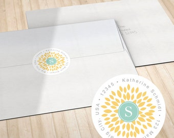 Personalized Circle Return Address Labels // Envelope Seals // Yellow Blooming Blossom with Monogram // S100