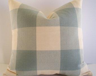 Blue Check Pillow Cover Spa Ballard Designs Pillow Blue Check Pillow Oversized Blue Buffalo Check Pillow Cover 0