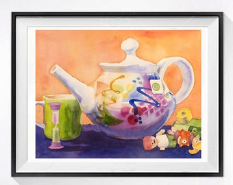 Abstract, Teapot, Still Life, Original painting, kitchen art, Home decor, wall art, watercolor, Sale, housewarming, gift for her, 10 x 13 in