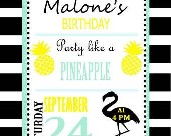 Card black Flamingo and pineapple - size 10 x 13 cm - printed and personalized