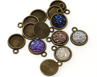 10mm Antiqued Bronze Tone Charm Drop Pendant Tray Bezel Blanks