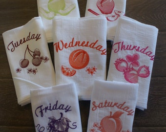 """Fruit """"Days of the Week"""" Dish Towels (Set of 7) - Made to Order"""