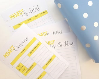 A5 Project Planning Bundle for A5 planners | Printed planner inserts | A5 planner inserts | printed project inserts for