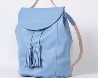 Sky blue colored backpack drawstring with tassels / To order / Leather Backpack/ Leather rucksack / Womens backpack / To order