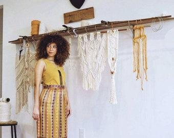 1970s, Boho Chic, Maxi Skirt // Gold, Yellow, Purple, Orange Stripe Pattern, Vintage 70s, Long skirt, Women Size Medium