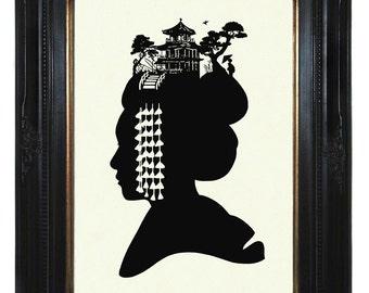 Geisha Art Print Silhouette Girl Woman Japanese Geisha Maiko hair kanzashi kawaii Victorian Steampunk art print