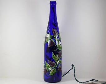 Wine Bottle Light Hand Painted with Black Berries, Accent Light, Orchard Fruit, Painted Berries, Fruit on Wine Bottle, Purple Raspberry Art