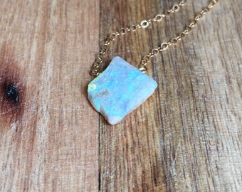 Raw Opal Necklace -  Opal Necklace - Opal Jewelry - October Birthstone Necklace  - Gold Opal Necklace - Raw Opal