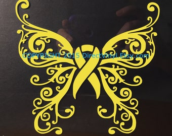 Yellow Awareness Ribbon Fancy Butterfly Window Decal (Spina Bifida, Adenosarcoma, Ewings Sarcoma, Liver Cancer, Liver Disease, Endometriosis