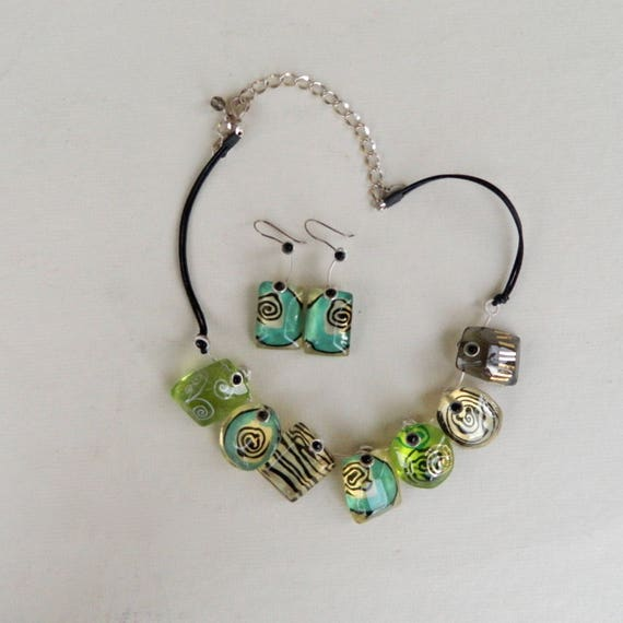 Orna Lalo Contemporary Artwear Necklace & Earring Set - Resin Leather Metal