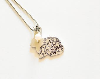 Bunny Necklace Hand Stamped