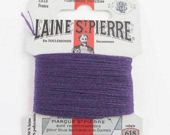French Wool Embroidery Floss Laine St. Pierre for Hand Embroidery, Darning | Wool Embroidery Thread in BLACKCURRENT (#618-A1)