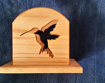 wood, oak,  napkin holder with scrolled out hummingbird