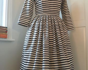 """Bespoke Made to Order Fit and Flare """"Tabitha"""" Dress. Made in Rifle Paper co's """"Wonderland Cheshire Stripe"""" Fabric. International Shipping"""