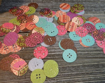 Designer Button Die Cuts - 120 PC Paper Goods, Embellishments, Crafts, Scrapbooking, Card making, Journaling,  VTC-0349D