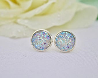Crystal Stud Earrings - Silver Earring Studs - Druzy Stud Earrings - Trendy Earrings for Girls - Sparkly Earrings - Silver Post Earrings