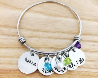 Mothers Day gift for Grandma Nana Meme Grammy - Hand stamped bracelet jewelry necklace - New Grandma Gift - Personalized gift
