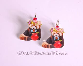 Raccoon Apple wreath earrings