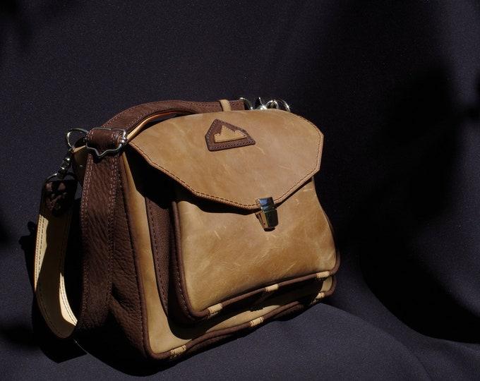 Messenger bag, Briefcase, shoulder bag, leather tan/beige and Brown