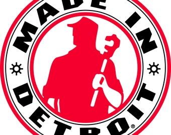 "MADE IN DETROIT Michigan Vinyl Car Window Decal Sticker 6x6"""