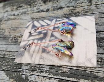 Titanium Quartz + Hammered Copper Earrings