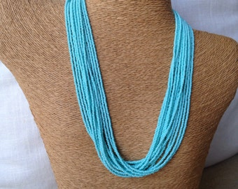 Robins egg blue necklace, aqua seed bead multi-strand necklace, aqua bridesmaids, turquoise necklace, turquoise bridesmaids, aqua necklace,