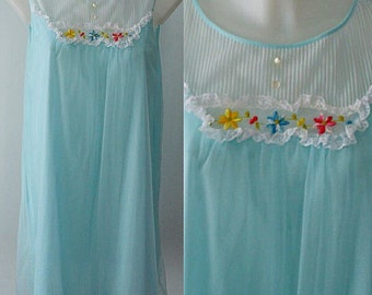 Vintage Nightgown, Vintage Lingerie, 1960s Nightgown, 1960s Radcliffe Nightgown, Aqua Chiffon Nightgown, Chiffon, Wedding
