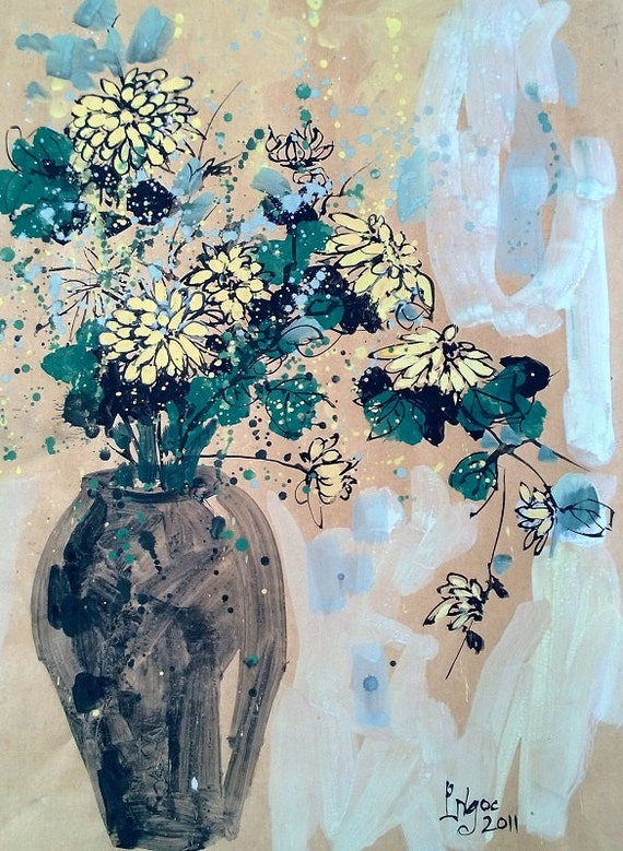 "YELLOW DAISIES 16x20"" gouache on paper, flowers, floral wall decor, original painting by Nguyen Ly Phuong Ngoc"