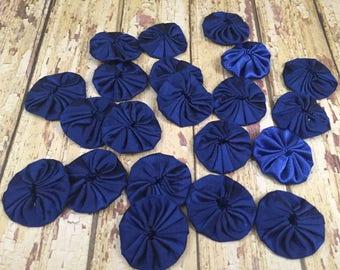 20 Polysatin Navy Yoyos, Grab Bag Navy Yoyos, Navy Fabric Flowers, Navy Nautical Rose, DIY Wedding, Navy Sash Flowers, Scrapbook, Craft