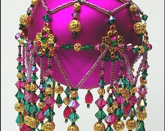Pattern for Beaded Christmas Ornament cover - Fuchsia Fantansy