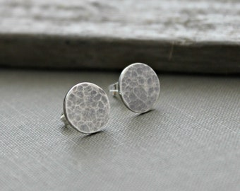 Sterling silver dot stud earrings - Moon design - Rustic dot earrings -  Post earrings - Tiny dot earrings - Cosmic celestial Earrings