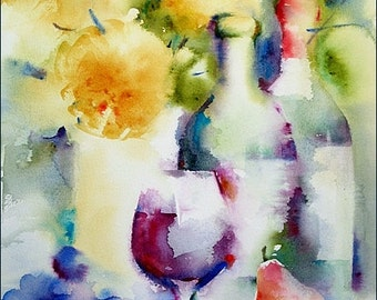 "Wine - Original Watercolor Painting ""Autumn Wine"" 12x16 inches"