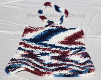Newborn Dress, 0 to 3 Month Baby Girl Outfit, Crochet Baby Clothes, Patriotic Dress, Memorial Day, Fourth of July, Veteran's Day Dress