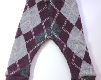 6-12 months - Diaper Cover Wool Longies - Maroon and Grey Argyle Recycled Merino Longies - Medium