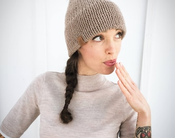 Handmade Adult Mid-weight Double Brim Beanie| Knit Pompom Hat | Winter Toque