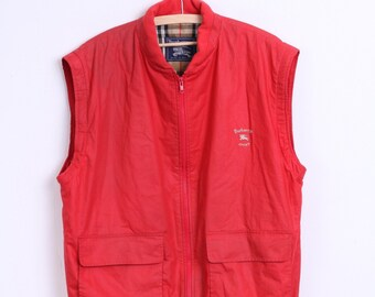 Burberrys Womens 14 L Bodywarmer Sleeveless Red Cotton