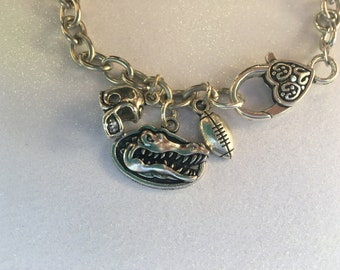 Florida Gators  football on  silver chain link bracelet  ! Florida Gators  bracelet