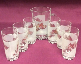Vintage Cerve Italian Clear Frosted Glass Pitcher - Tumblers Set Of 7 Pieces Made In Italy