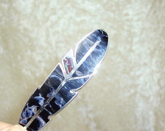 REVERSIBLE Stone Inlay Feather Centerpiece – Pietersite, Boulder Opal, and Sterling Silver